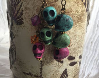 Day-of-the-Dead Halloween skeleton earrings - free shipping