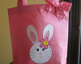 TOTE BAG Bunny Rabbit Girl Personalized Toddler or Big Kid Tote
