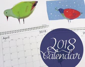 Birds Calendar 2017! Get 12 beautiful original illustrations at a low cost. Perfect quality for framing! Neutral, large blank date boxes.