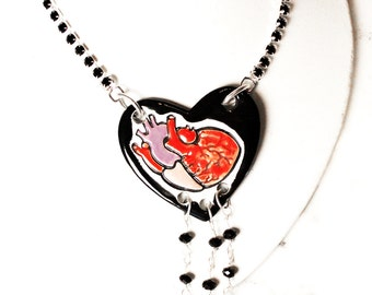 Longline Glam Goth Heart Surly Necklace