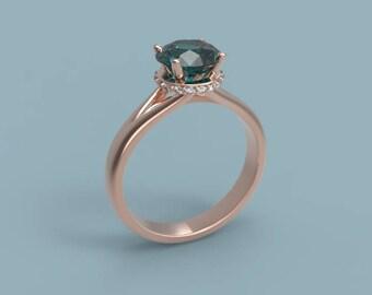 14k Rose Gold Alexandrite Engagement Ring Alexandrite Ring Rose Gold Alexandrite Diamond Ring Alexandrite Ring