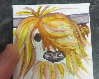 Minature Highland Coo watercolour