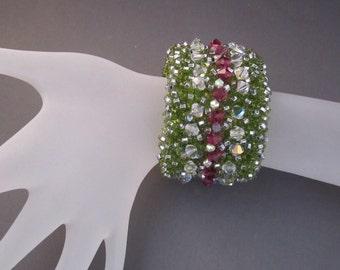 Unique Handmade Beaded Cuff Bracelet With Swarovski Crystals