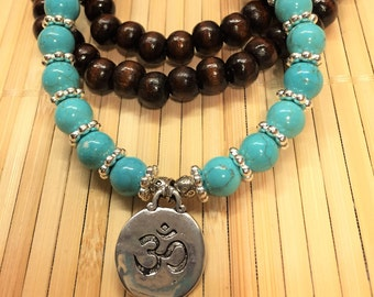 OHM 108 Bead Mala Tibetan Prayer Necklace Bracelet  - Natural Wood, Silver and Turquoise Mediation Relaxation Protection Jewelry