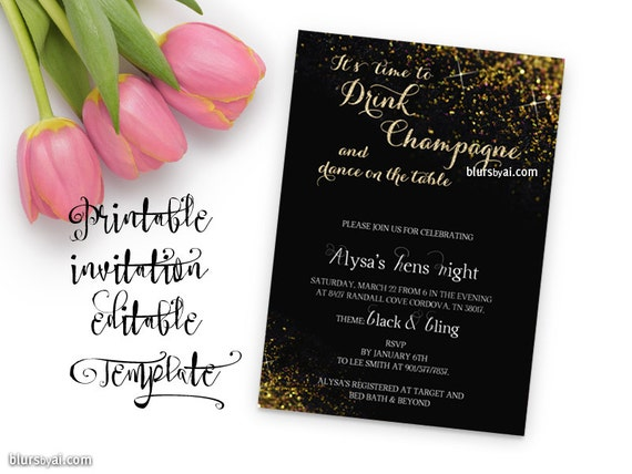 Printable invitation template bridal shower editable template printable invitation template bridal shower editable template editable word template black gold glitter time to drink champagne wdi017 from stopboris Image collections