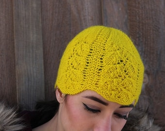 Yellow Wave Knit Hat