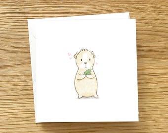 Animal Greeting Card - Cute Guinea Pig Love, Lettuce be friend, Guinea Pig Card, Love card