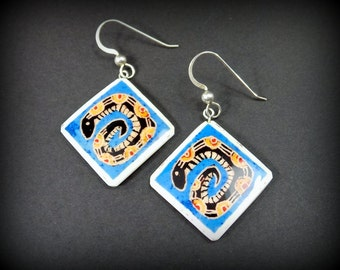 SNAKE EARRINGS Western Jewelry - southwest design - Aztec inspired - hand painted jewelry