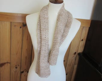 Alpaca Handspun Handknit Scarf made from All Natural Beige/White Alpaca