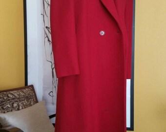 1960's ILGWU Dark Red Knee Length Wool Coat