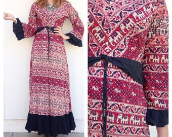 Vintage Ethinc Insia Elephant Maxi Dress
