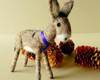 Donkey Christmas tree decoration, rustic holiday ornament, needle felted farm animal decor