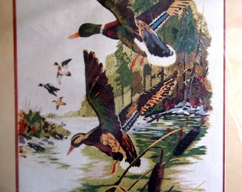 Mallards in Flight Picture By Columbia Minerva Vintage Crewel Embroidery Kit 1977
