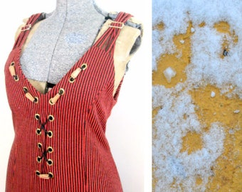 Grunge Striped Jumper Sundress Size Large 1980s 1990s Corset Style Dress