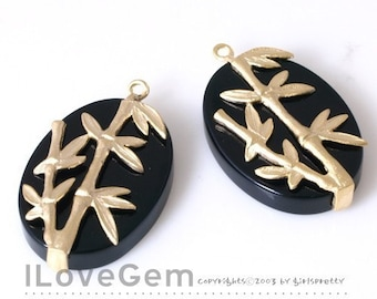 NP-660 Matt Gold Plated, Oval Onyx with Bamboo pendant, 2pcs