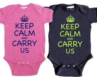 Funny Twin One Pieces Boy Girl Twin bodysuits Baby Boy Twins Girl Twins Newborn Creepers