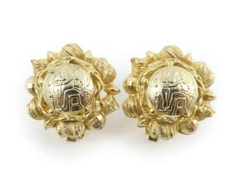 Vintage, Hieroglyphic Earrings, Gold Tone, Clip Ons, STI59