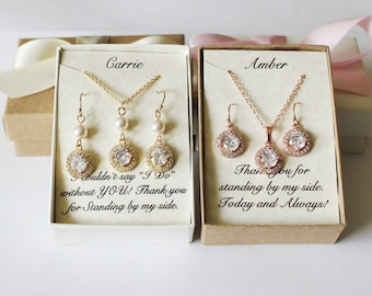 Rose gold bridesmaids set, Silver bridesmaids gift, Bridesmaids necklace earrings set, Cubic Zirconia, Gold bridal set, Bridal party gift