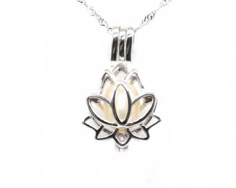Pearl cage pendant, sterling silver pearl cage, lotus flower pearl cage necklace, wish pearl pendant, white real pearl charm, F3000-P