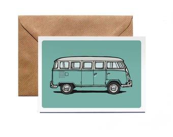 Greetings Card | VW splitscreen | Volkswagen | Camper | Campervan | Classic | Vintage | Illustration