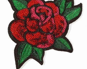 """4"""" Sequins Red Floral Iron-On Applique, Sequin Patch by 1 pc, TR-11311"""