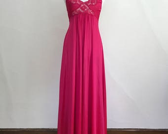 Vintage 1980s Long Hot Pink Nightgown // Stretch Nylon // Miss Elaine // Lace Trim Floor Length Full Skirt