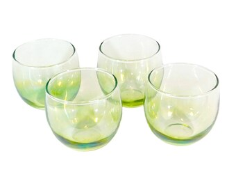 4 Vintage Roly Poly Highball Glasses, Iridescent Green Glass Tumblers, Retro Barware