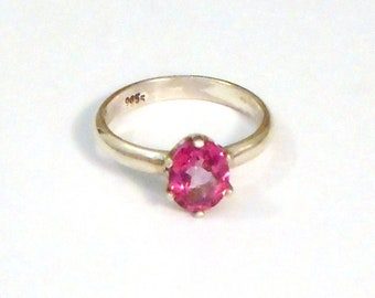 One Of A Kind Handmade Pink Topaz and Sterling Silver Ring Size 9.5 #18-013.
