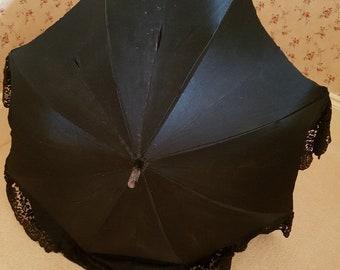 Antique Edwardian black satin and lace lined parasol, Goth parasol, steampunk parasol, collectors parasol, theatre prop, costume parasol