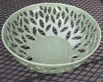 Light Spring Green Hand Carved Pottery Bowl