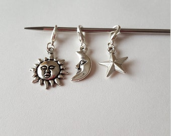 Set of 3 Stitch Markers / Progress Keepers for Knitting or Crochet - Sun, Moon, Star