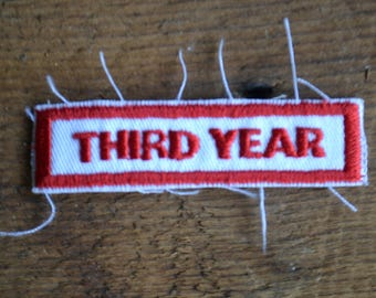 Reclaimed Vintage Third Year Red White Embroidered Badge Patch