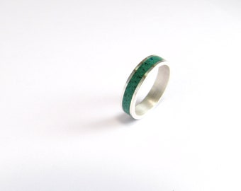Green Wedding Band, Sterling Silver Ring, Contemporary, Modern, Minimal