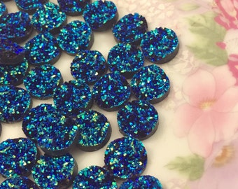 Gorgeous Shimmering Faux Gemstone Druzy Cabochons, Small Blue Sparkling Resin Drusy Cabs, 12mm Round Flatback, (10)