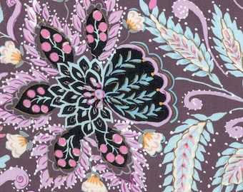 SALE Dena Designs Isabelle Ornate in Plum Purple - Floral Fabric by the Yard - Lavender- Watercolor Floral Quilting Boutique Clothing Fabric
