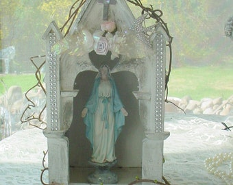 Virgin Mary statue Grotto Shrine Niche embellished crown Rhinestones Cross shabby French Nordic altered Madonna Santos religious statues