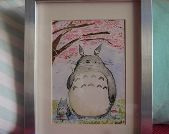 Totoro Sakura Hanami Dango 2 under cherry blossoms, original watercolor print
