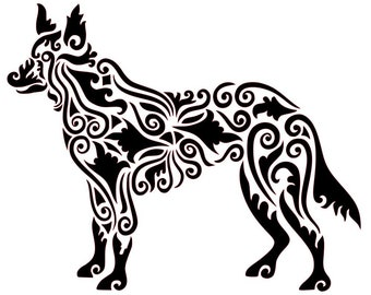 Zen Tangled/Tribal Dog/Wolf/Coyote Vinyl Decal for Car or Home