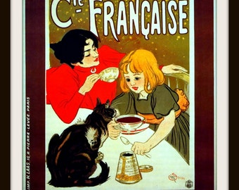 """Art Print of a Vintage French Advertisement """"CHOCOLATS Cie Francaise """"  by Steinlen Art Noveau Giclee Print - Kitchen Wall Art"""