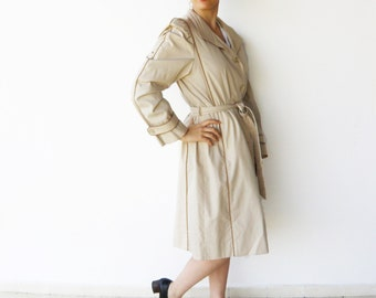 Vintage Classic Trench Coat / Cream and Tan Trenchcoat / Size M