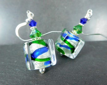 Blue Green Silver Murano Earrings, Glass Cube Dangle Earrings, Shimmering Silver Foil Drop Earrings, Geometric Jewelry Italian Glass Jewelry