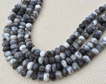 Brand New, Full 8 Inch Strand Natural Dendritic Opal Faceted Rondelles,7-8.5mm Size.
