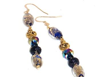 Royal Blue Venetian Crystal With Encased Gold Foil Dangle Earrings