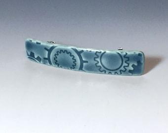 Blue Medium Size Barrette, Steampunk Barrette, Blue Barrette, Ceramic Barrette, Porcelain Barrette, French Barrette, Blue Ceramic Hair Clip