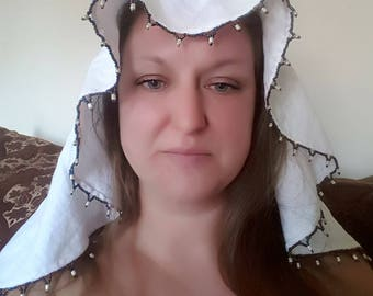 Medieval multicolored beaded white veil SCA LARP wedding