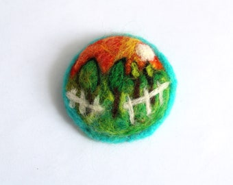 Needle felted wool brooch Painting trees wool Sunset orchard