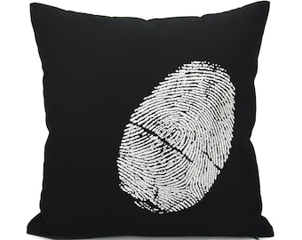 16x16 Black Throw Pillow Cover with White Fingerprint, Thumbprint For Him | Industrial Home Decor | Black & White Decorative Pillow Case