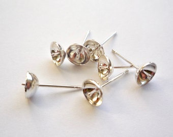 50 silver plated surgical steel earring post with 6mm cup and peg, Finding for round pearl or bead stud post earrings