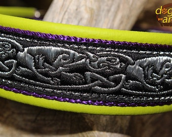 """Dog Collar """"Celtic Dragons"""" by dogs-art, leather dog collar, celtic dog collar, dragon dog collar, celtic dragons, celtic hounds, dog collar"""