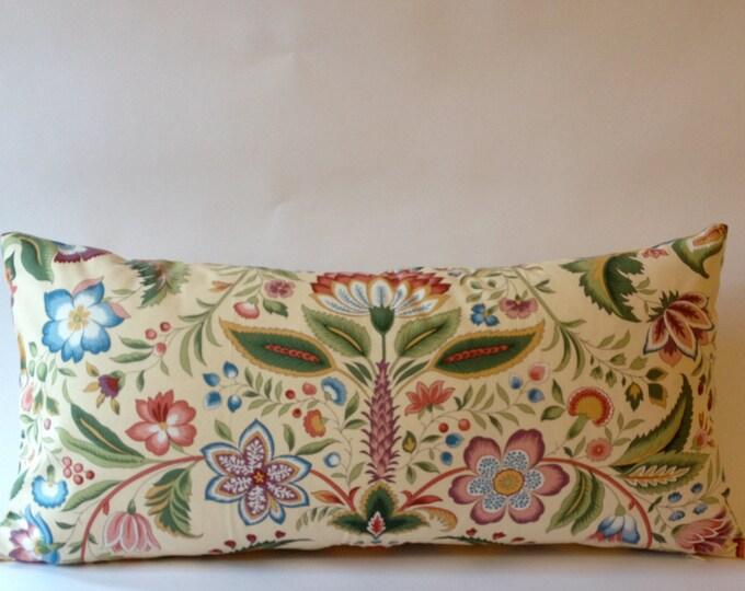 Vintage Decorative Bolster Pillow -Vintage Pindler and Pindler Print -Yellow & Gray Chevron Print Backing- Invisible Zipper Closure